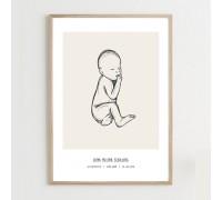 Fødselsplakat, beige