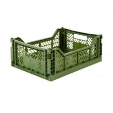 Foldekasse, khaki / army grøn- Midi