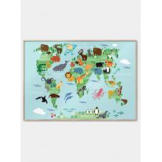 Verdenskort med dyr plakat, M (50x70, B2)