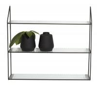 Reol med 3 hylder, metal/glas