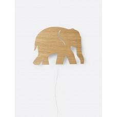 Væglampe, elefant - olieret egetræ