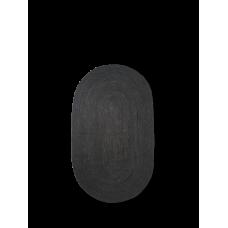 Jute gulvtæppe, sort - oval (str. s)