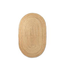 Jute gulvtæppe, natur - oval (str. L)