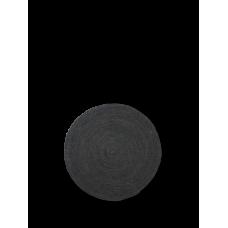 Jute gulvtæppe, sort - rund (str. s)