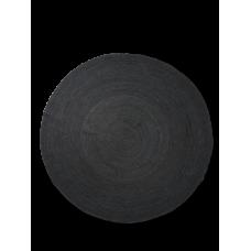 Jute gulvtæppe, sort - rund (str. L)