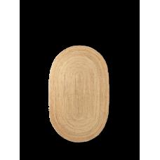 Jute gulvtæppe, natur - oval (str. s)