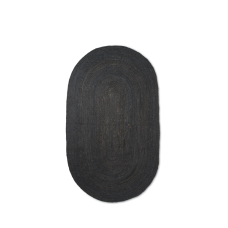 Jute gulvtæppe, sort - oval (str. L)