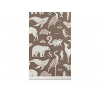 Katie Scott tapet - animals, toffee brown