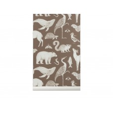 Katie Scott tapet - animals, toffee brown