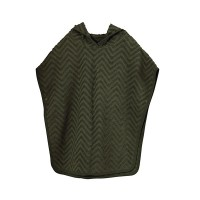 Bade poncho - Zigzag, dark green