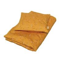 Junior sengetøj, stars golden mustard