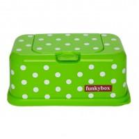Box til vådservietter - grøn m. prikker