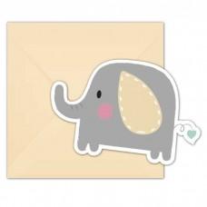 Indbydelser, baby elefant (6 stk)