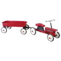 Gå-traktor med trailer - rød