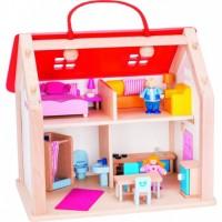 Kuffert dukkehus med tilbehør