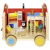 Trækvogn - dukkehus med tilbehør