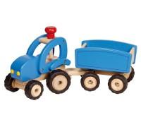 Traktor med trailer - blå
