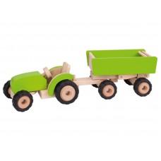 Traktor med trailer - grøn
