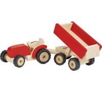 Traktor med trailer - rød