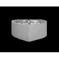 Boldbassin hjerte 100x40 cm, lysegrå