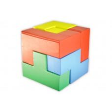 3D puzzle cube, mix farver