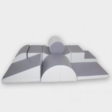 Leander med skridunderlag, grå/hvid