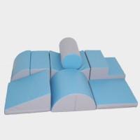 Leander med skridunderlag, pastel blå/grå