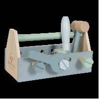 Værktøjskasse i træ, blå