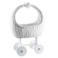 Dukkevogn med hjul - hvid flet