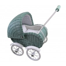 Lille dukkevogn, kurveflet - støvet grøn
