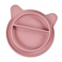 Silicone tallerken gris, rosa