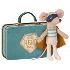 Superhero mus i metal kuffert