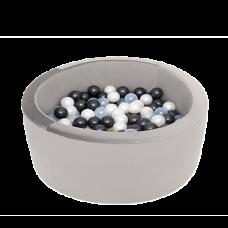 Boldbassin med 150 bolde - grey, velvet (90x30x5cm)