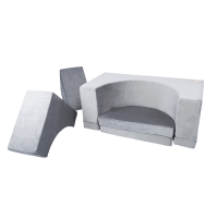 Sofapool - grey, velvet (120x120x50cm)