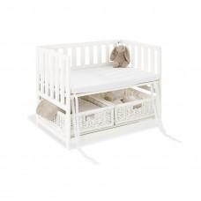 Bedside Crib med madras, Janne - hvid