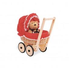 Dukkevogn med kurveflet og sengesæt, Mona - Bøg-flet, rød