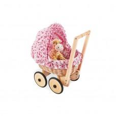 Dukkevogn med kurveflet og sengesæt, Mona - Bøg-flet, rosa