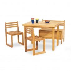 Børnebord, bænk og stolesæt, Peter - økologisk bøg