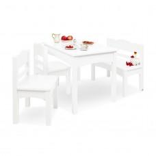 Børnebord, bænk og stolesæt, Martha - Hvidlakeret træ