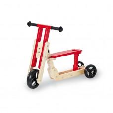 Kombi løbehjul / trehjulet løbecykel, Theo - Natur/rød