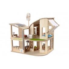 Grønt dukkehus med møbler