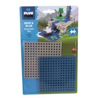 PLUS-PLUS baseplate, 2 pk. - blå/grå