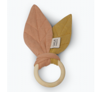 Teething ring, dusty coral/mustard