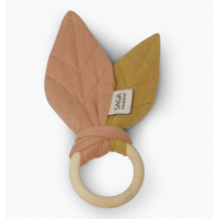 Teething ring, dusty coral/mustard