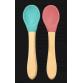 Minikoioi skeer m. bambus skaft, grøn og rosa, 2 stk