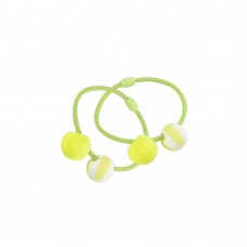 Hårelastikker m. perler, 2 stk - neongul/grøn