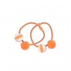 Hårelastikker m. perler, 2 stk - orange