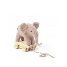 Trækelefant - lyserød og guld