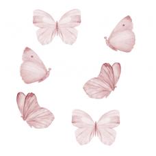 Wallstories - Rosa sommerfugle - sæt af 6