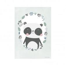 Plakat A3, panda mint/hvid
